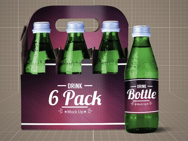 Butelka napoju i makieta 6 opakowań
