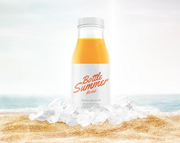 Butelka soku z makietą reklamową lodu