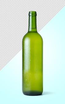 Butelka świeżego białego wina wyizolowana z tła