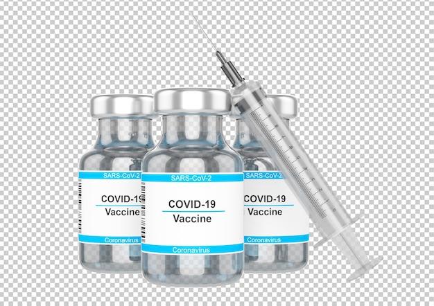 Butelka szczepionki przeciwko koronawirusowi na białym tle
