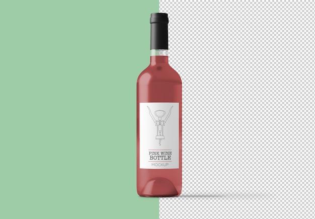 Butelka Wina Różowego Na Białym Tle Makieta Premium Psd