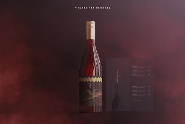Butelka wina z broszurą lub makietą menu