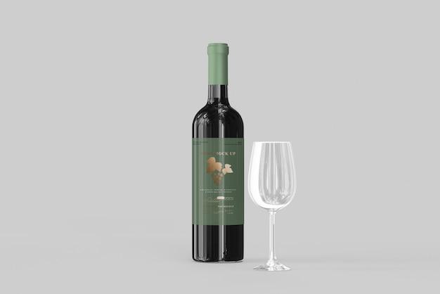 Butelka wina z makieta szkła