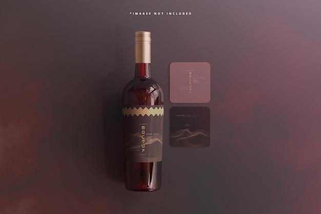 Butelka wina z makietą wizytówki