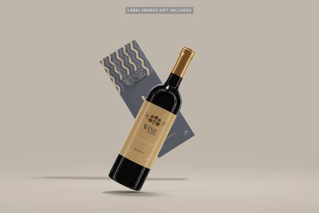 Butelka wina z makiety torby na zakupy