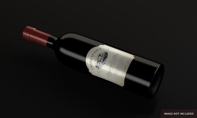 Butelka wina z projektem makiety etykiety