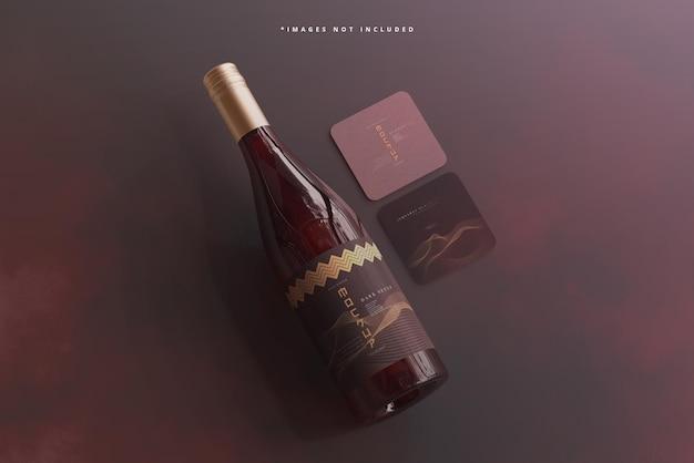 Butelka wina z zakrętką z makietą wizytówki