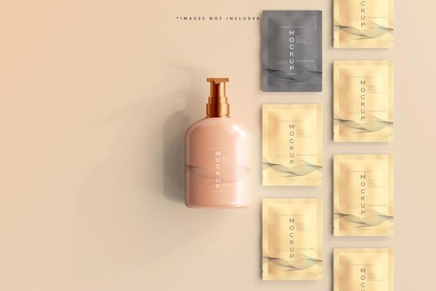 Butelka z pompką kosmetyczną i makieta saszetki