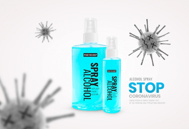 Butelka z rozpylaczem alkohol martwy wirus reklama