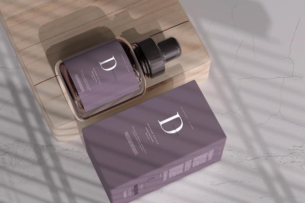 Butelka z zakraplaczem ze szkła bursztynowego z makietą pudełka