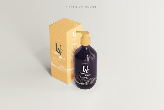 Butelka ze szklaną pompką uv i makieta pudełka