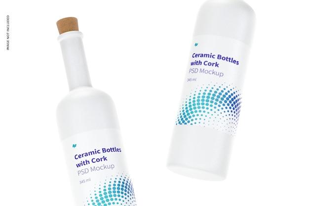 Butelki ceramiczne z długą szyjką i makietą korka