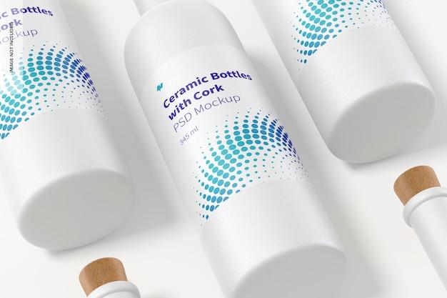 Butelki ceramiczne z długą szyjką i makietą zestawu korka
