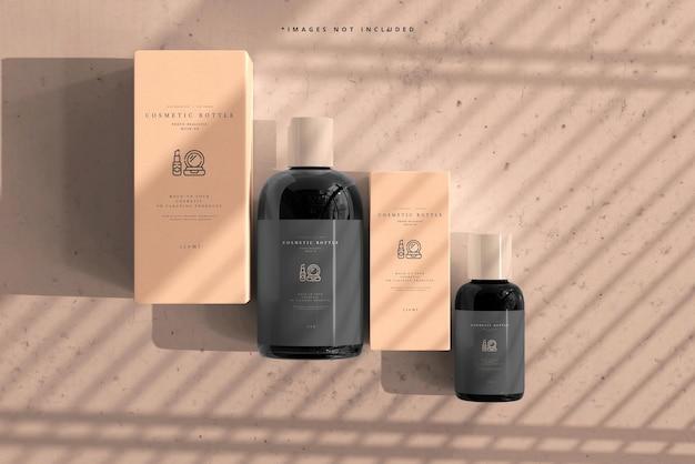 Butelki kosmetyczne z makietą pudełek
