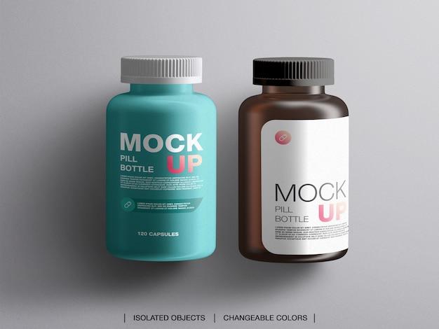 Butelki na pigułki do leczenia medycyny płaskiej świeckich plastikowe pojemniki do pakowania makieta na białym tle