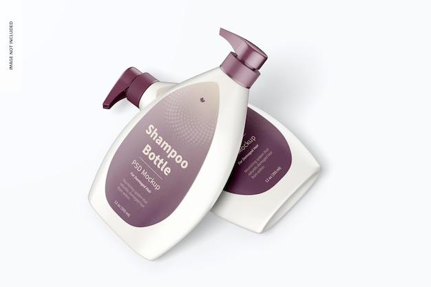 Butelki na szampon z makietą pompki, pochylone