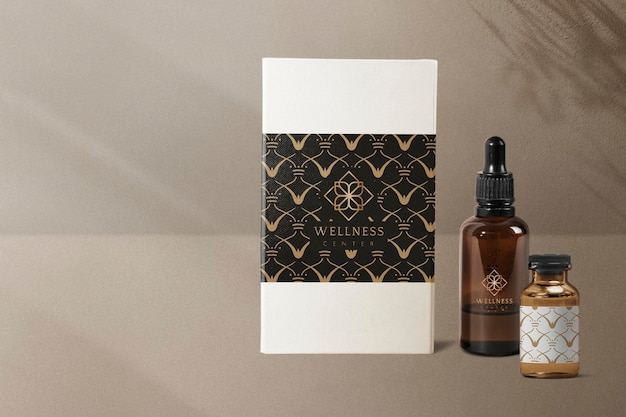 Butelki z luksusowymi etykietami psd makiety opakowań produktów dla zdrowia i dobrego samopoczucia
