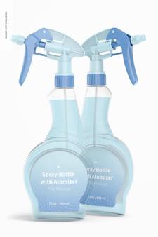 Butelki z rozpylaczem z makietą atomizera, widok z przodu