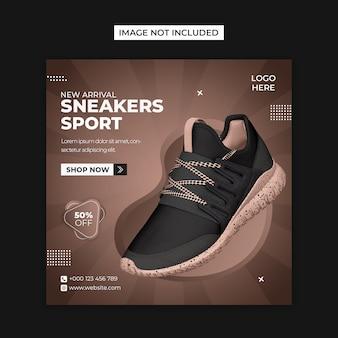 Buty produkt społecznościowy i szablon postu na instagramie