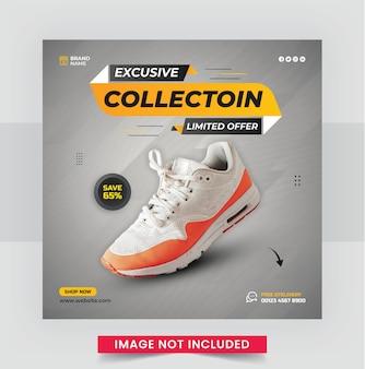 Buty sportowe baner w mediach społecznościowych i projekt szablonu postu na instagram