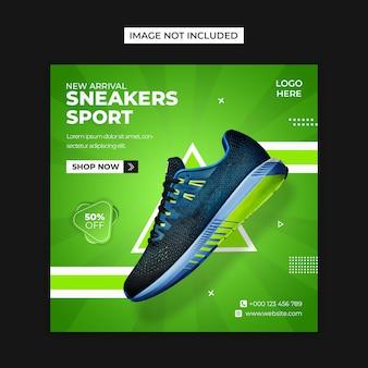 Buty sportowe w mediach społecznościowych i szablon postu na instagramie