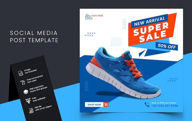 Buty sprzedaż szablon transparent mediów społecznościowych