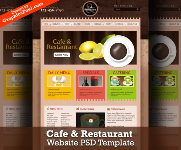 Cafe & restaurant szablon strony internetowej psd