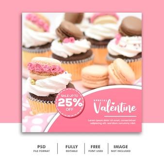 Cake valentine banner media społecznościowe post instagram sprzedaż żywności