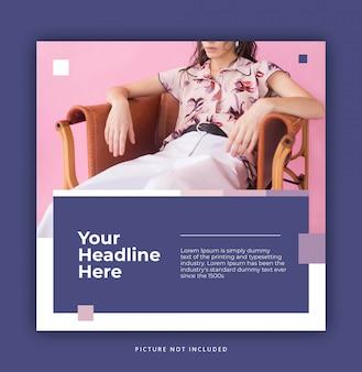 Calm pink fioletowy nowoczesny dynamiczny czysty prosty instagram post szablon lub baner kwadratowy