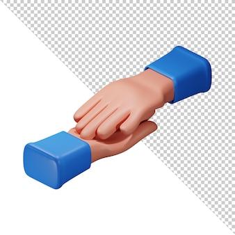 Cartoon style hand icon 3d illustration alpha background psd