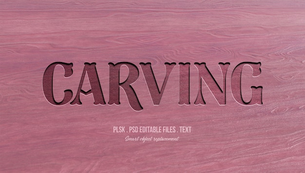 Carving 3d efekt stylu tekstu