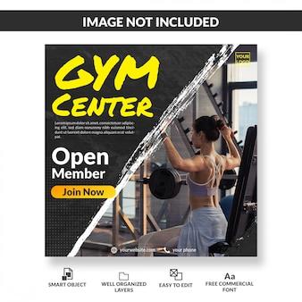 Centrum siłowni otwarty członek społecznościowy szablon postu