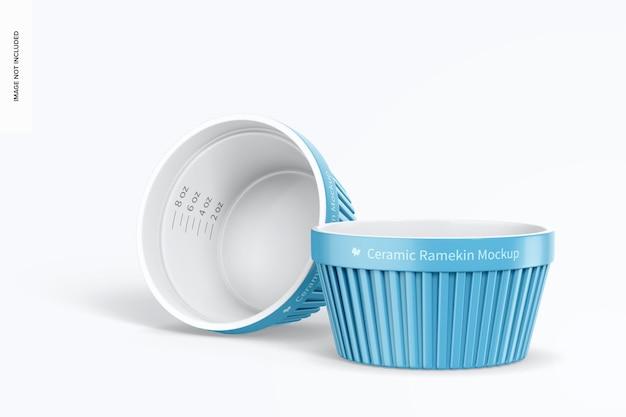 Ceramiczna makieta ramekins, stojąca i upuszczona