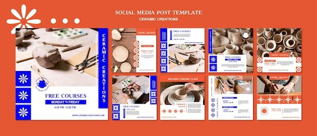 Ceramiczne kreacje szablon postu w mediach społecznościowych