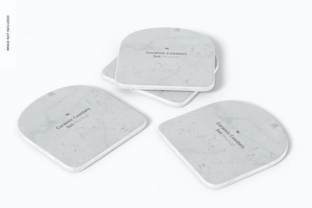 Ceramiczne podstawki zestaw makieta, perspektywa