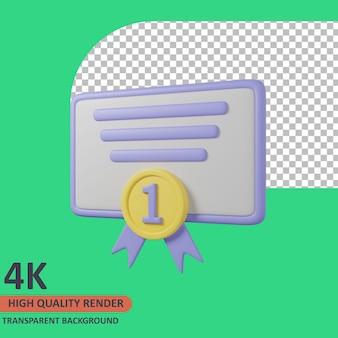 Certyfikat nagrody 3d edukacja ikona ilustracja wysokiej jakości render
