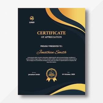 Certyfikat pionowego granatowego tła i złotych fal