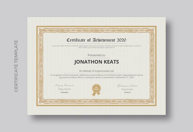 Certyfikat projektu szablonu osiągnięcia