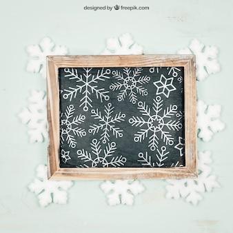 Chalkboard z śnieżynkami makieta z christmtas projektem