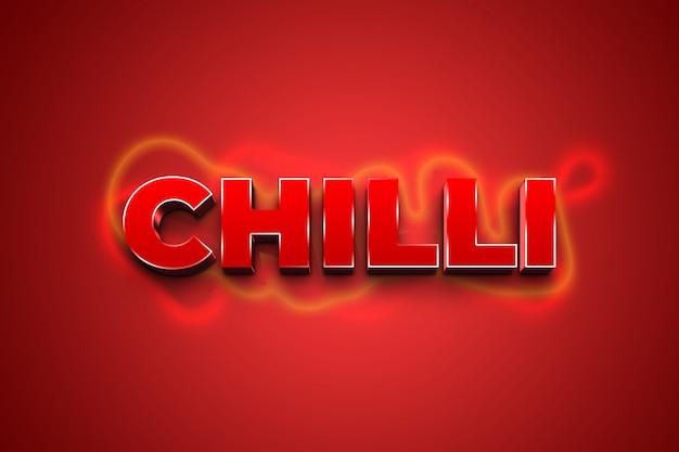 Chili 3d efekt stylu czerwonego tekstu