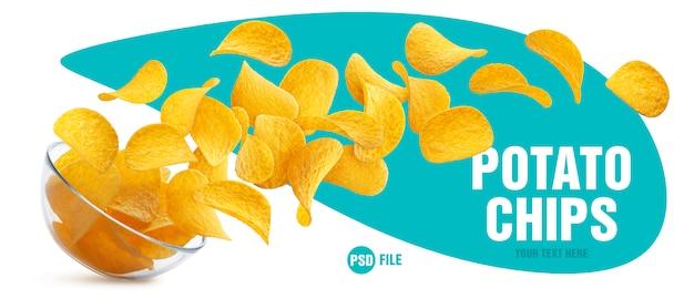 Chipsy spadają ze szklanej miski