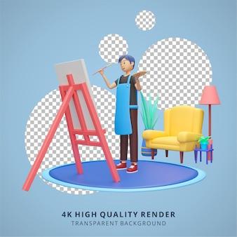 Chłopiec maluje w domu zostań w domu ilustracja wysokiej jakości renderowanie 3d