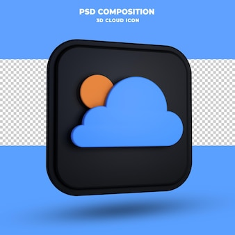 Chmura ikona renderowania 3d na białym tle
