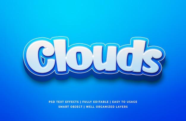 Chmury cartoon 3d tekst sty