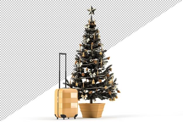Choinka i walizka podróżna. koncepcja podróży świątecznej