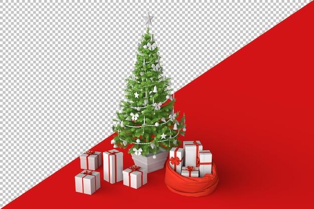 Choinka z prezentami pudełka na prezenty