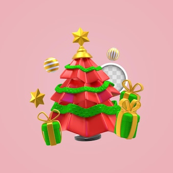 Choinka z prezentami. renderowanie 3d