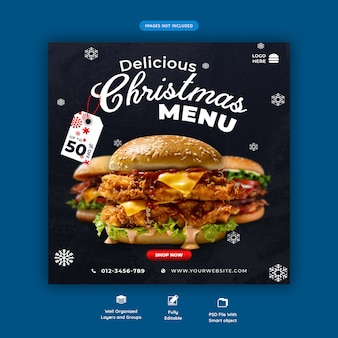 Christmas burger menu szablon mediów społecznościowych premium psd