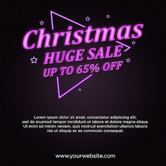 Christmas huge sale banner w neonowym stylu
