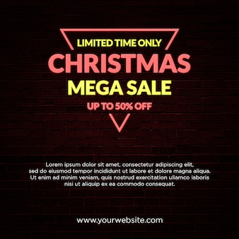 Christmas mega wyprzedaż banner neon light style